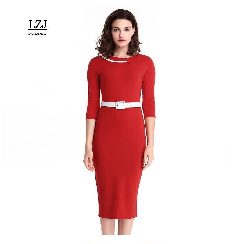 LZJ new ladies summer retro dress vestidos stitching O collar seven points  sleeves belt dress professional women pencil dress L3-in Dresses from  Women s ... 8ff7e0dcb252