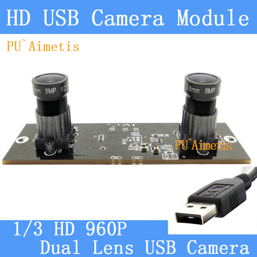 PU`Aimetis Industrial Mini camera Dual lens 5MP 3.6mm HD 2560*960P 130W Computer the 30FPS USB Camera Module for Windows Linux цена