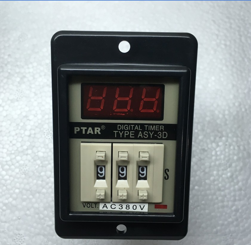 ASY-3D Panel Mount 1-999 Second 8 Pins  Black Digital Timer Time Delay Relay AC380V AC220V DC12V DC24V ac380v panel mount 8p 1 999900 count range digital counter relay dh48j dpdt