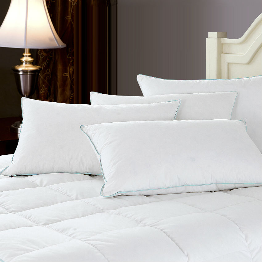 Peter Khanun Brand Design White Goose Feather Neck Health Care Sleeping Pillow 100% Cotton Shell Allow Feather To Breathe 010
