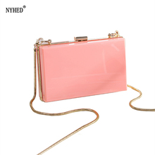 NYHED Summer Style Transparent Chains Bag For Women Small Flap Messenger Female Causal /Wedding /Evening Party