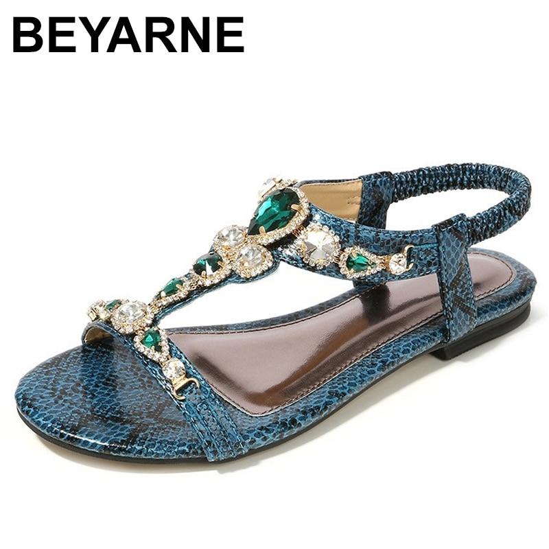 BEYARNESize 34-45 Retro Bohemian Diamond Sandals For Women Retro Sexy Beaded Serpentine Simple Casual Sandals For WomenE543