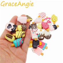 GraceAngie 20pcs/pack Resin Summer Ice Cream Shape Imitation Food Jewelry Accessories Refrigerator Ornament Patch