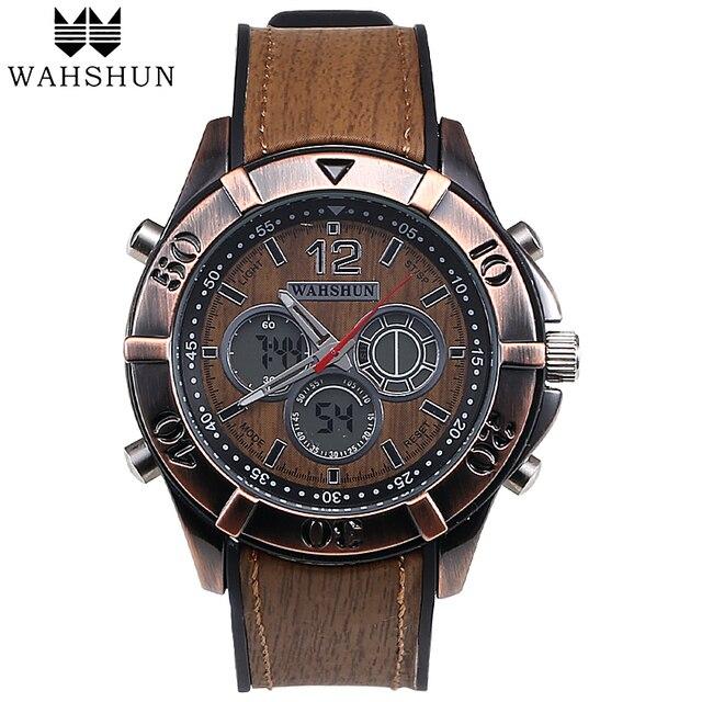 Popular Vintage Watches Men Fashion Casual Watch Brown Multifunctional Dual Display Alarm Men Clock Wristwatch relojes WS1006
