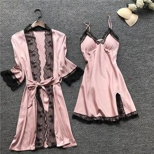 Image 4 - 플러스 사이즈 2XL 2019 여성 잠옷 새틴 잠옷 실크 4 개 세트 Nightwear pajama 스파게티 스트랩 레이스 Sleep Lounge Pijama