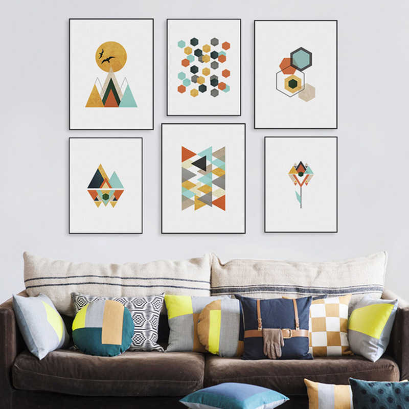 Nordic Style Abstract Geometry Cartoon Poster Canvas Print Painting For Art Home Art  Decoration Art Posters No Frame