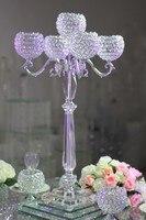 Высокие свадебные центральным кристалл Глобусы 5 руке серебряные канделябры/K9 хрустальные украшения дома канделябры