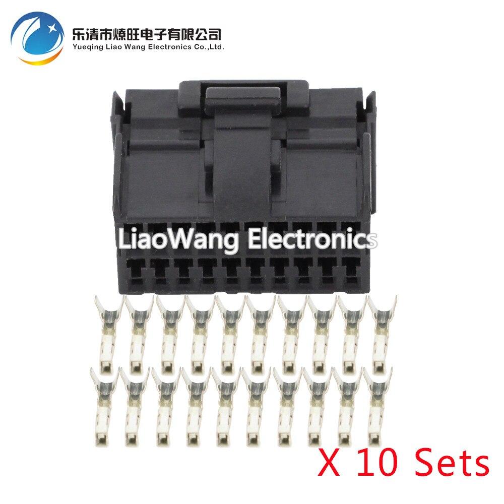 10 Conjuntos de 20 Pinos de fixação preto feminino DJ7201-1.2-21 20 P conector do carro conector carro com o terminal