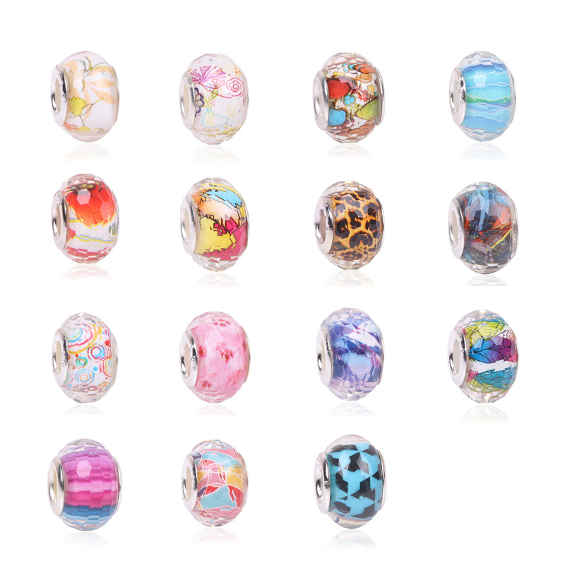 High Quality DIY Glass Beads 2018 1PCS Silver Color Charms Fit Europe Pandora Bracelets Necklaces Women Accessories