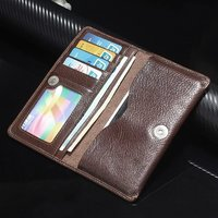 Multi-functional 100% Genuine Leather Wallet Pouch Case For Sony Z5 Z4 Z3 Z2 Z1 For HTC M7 M8 M9 For LG G4 G3 G2 Snap Flip Cover