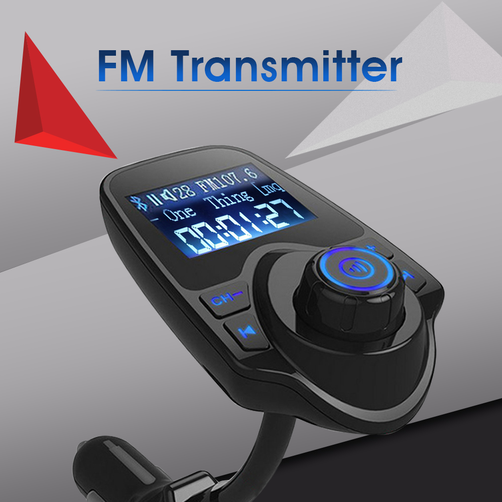 T10 Wireless FM Transmitter Bluetooth Car Kit Hands free Call MP3 Music  Player 5V 2 1A USB Car Charger Support TF Card AUX Input-in FM Transmitters