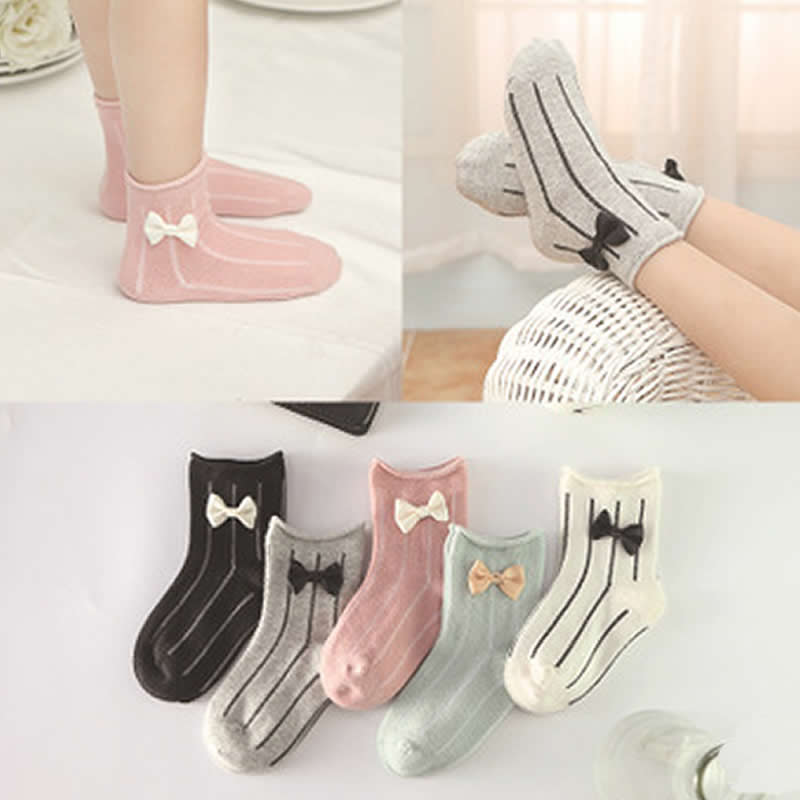 Socken Mädchen Bowknot Socken Süße Vertikale Streifen Prinzessin Kurze Socken Kleinkind Komfortable Mädchen Baumwolle Socken Bogen Socke 5 Paare/los HöChste Bequemlichkeit