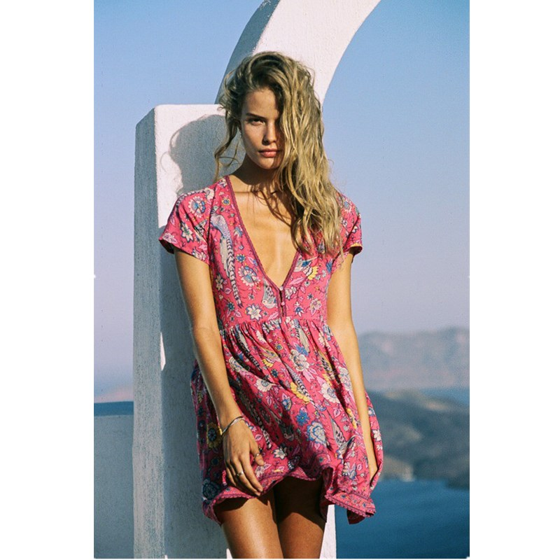 Boho Kleid Rot Blumendruck Mini Kleid Mit V-ausschnitt Kurze Seeve ...