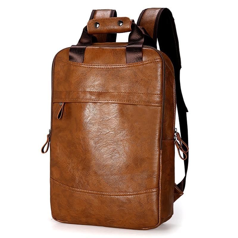 Fashion Men Backpack Waterproof PU Leather Travel Bag Man Big Capacity Male Mochila Laptop Bag Teenager Backpacks