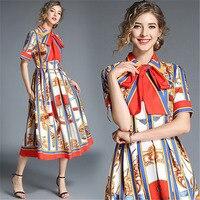 New Summer Autumn Vintage Dresses Women Slim Short Sleeve A Line Dress Bow Elegant Laides Ol Work Business Dresses Streetwear