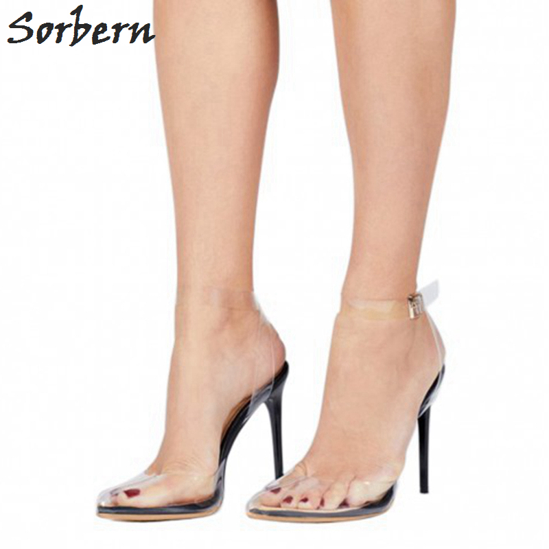 Sorbern PVC Transparent Women Sandal Multi-color High Heels Slingbacks Ankle Strap Pointed Toe Plus Size Shoes Women US4-15 fashion women mixed color sandals sexy pointed toe high heels shoes ankle strap rivets patent leather sandal plus size smybk 045