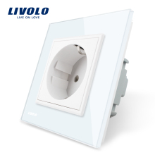 Livolo EU Standard 힘 Socket, White Crystal (gorilla Glass Panel, AC 110 ~ 250 V 16A 벽 Power Socket, VL-C7C1EU-11(China)