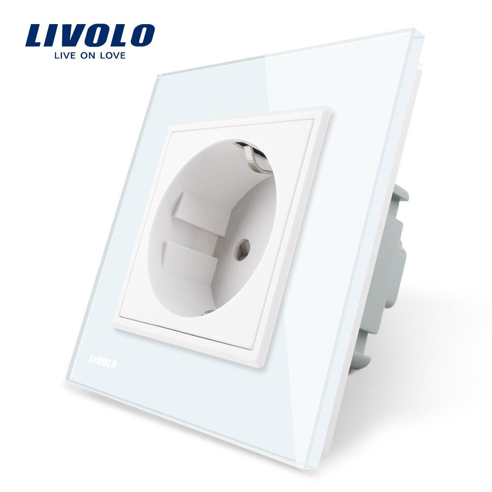 Toma de corriente estándar Livolo EU, Panel de cristal blanco, toma de corriente de pared AC 250-110 V 16A, VL-C7C1EU-11