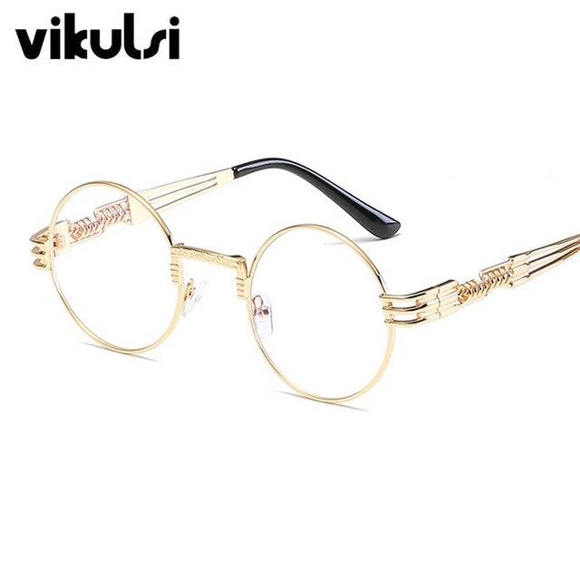 Luxe Vintage Rétro Gothique Steampunk lunettes de Soleil Femmes Or Clair Lunettes  Rondes Cercle Miroir Lunettes aecf542e9392