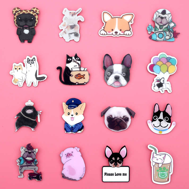 Lovely Cat Dog Animal Cartoon Badges Brooches Icons on Clothing T-shirt Clothes Bag Backpack DIY Personality Accessories