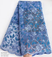 top grade Sky blue rope embroidery African lace fabric 2018 grids mesh french lace with massive sequins high quality 5 yards