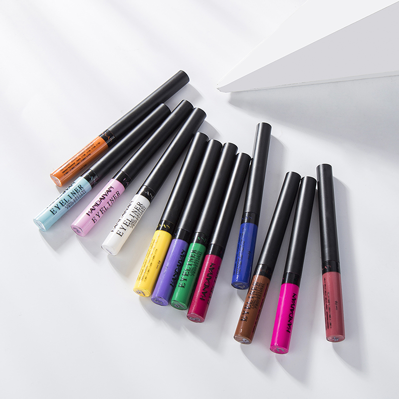 HANDAIYAN Brand 12 Colors Eye Liner Makeup Quick To Dry Waterproof Liquid Eyeliner 24 Hours Long Lasting Beauty Cosmetic