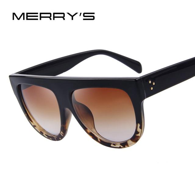 ba94717a36ce3e MERRY S Mode Femmes Grand Cadre lunettes de Soleil Classique Marque Designer  Rivet Shades Flat Top Oversize
