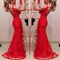 New Red Sexy long Dress Sleeveless Lace Formal Evening Party