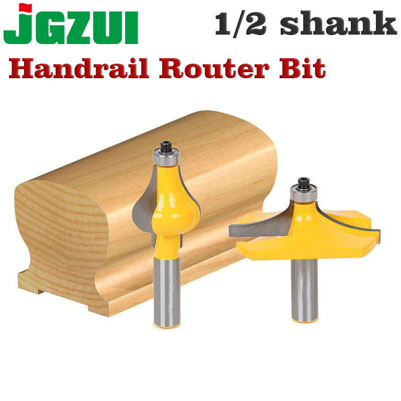 2 Bit 1/2 Shank Handrail Router Bit Set - Standard/Flute Line knife Woodworking cutter Tenon Cutter for Woodworking Tools 10pc 1 2 shank architectural molding router bit set line knife woodworking cutter tenon cutter for woodworking tools