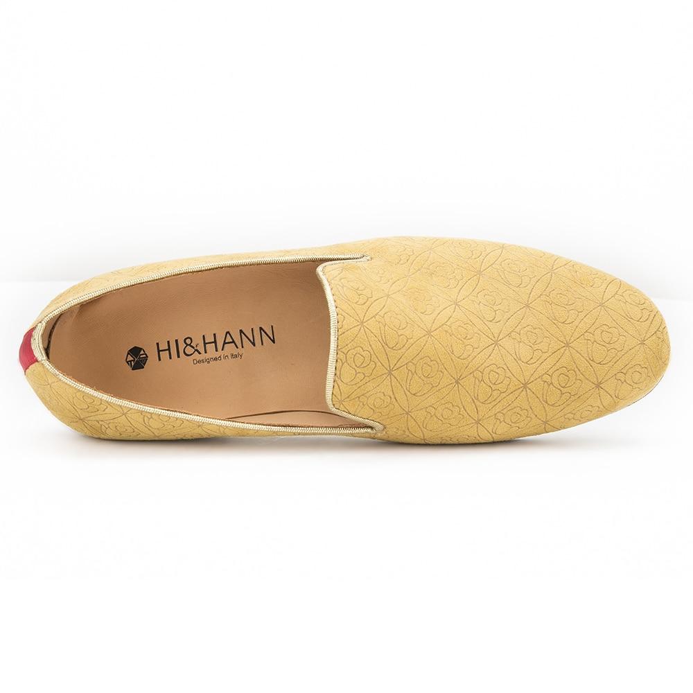 2017 nouvelles chaussures à la main en daim Floral jaune pour hommes avec fond en cuir véritable et semelle intérieure et mocassins pour hommes - 5