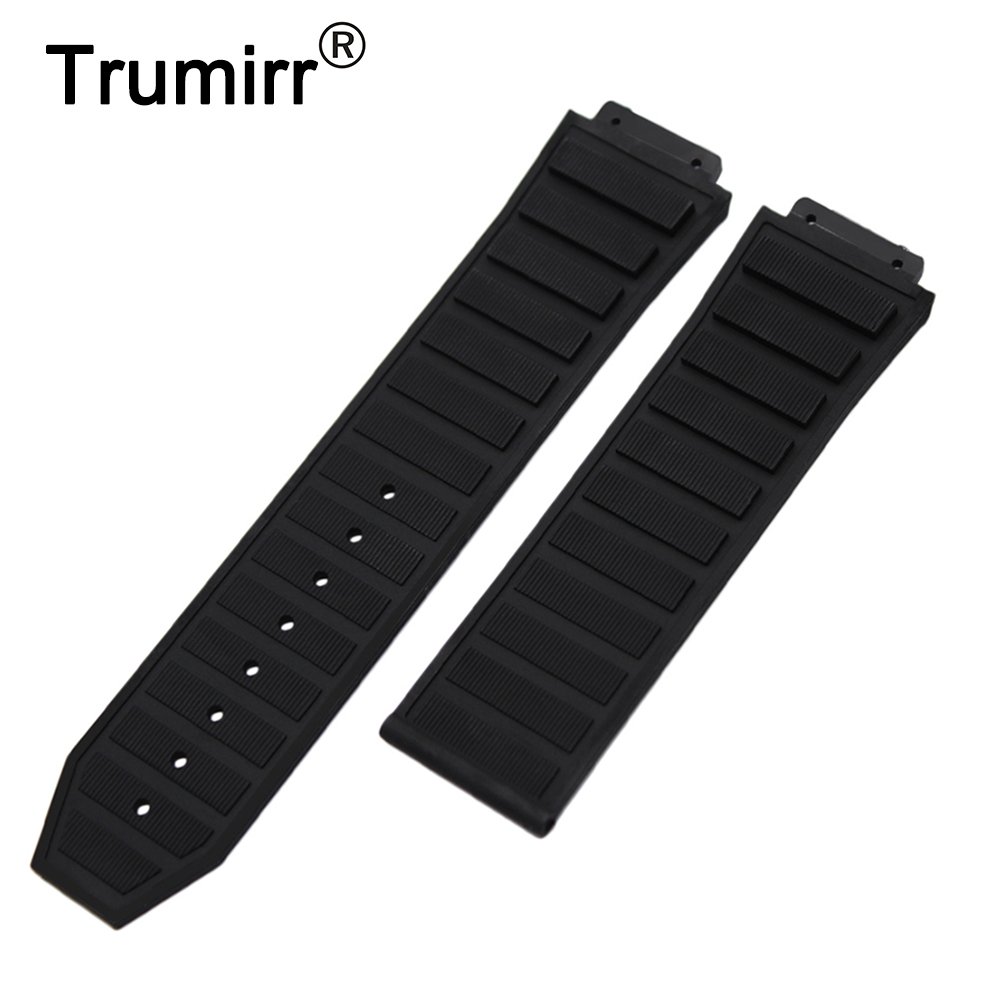Convex Silicone Rubber Watchband 30mm x 20mm for Hublot Replacement Watch Band Waterproof Strap Wrist Bracelet silicone rubber watchband double side wearing strap for armani ar watch band wrist bracelet black blue red 21mm 22mm 23mm 24mm