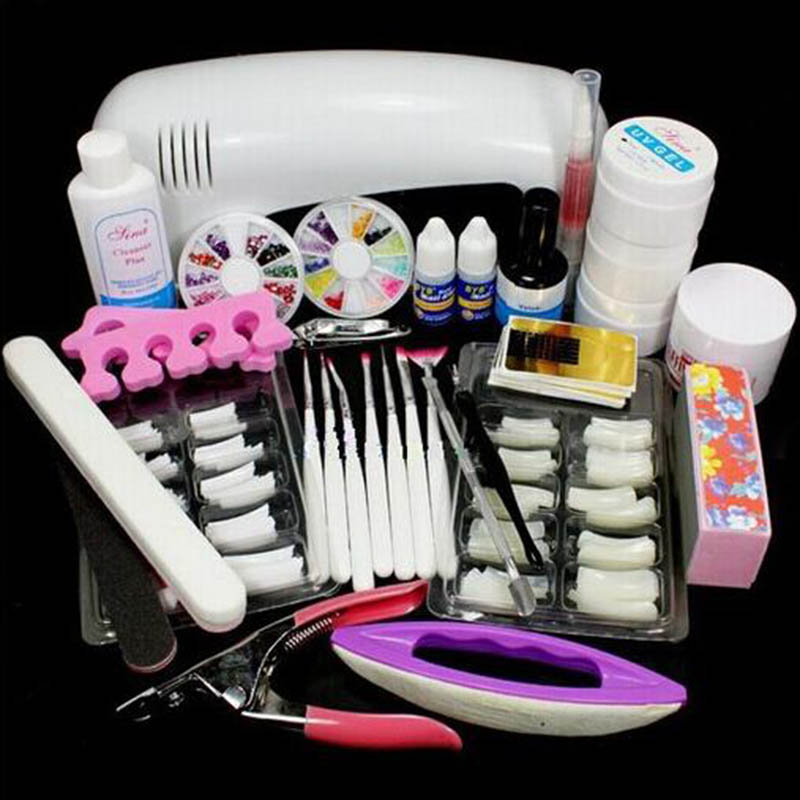 Professional Manicure Tools Set DIY Nail Art Set&Kit Including 9W Nail Lamp UV Extension Gels Flase Nail Tips&Decorations