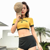 Mayo De Bain Femme Large Size Swimsuit Woman 2019 Bikini Push Up Split Women High Waist Set Plaid Spandex Sierra Surfer Shorts