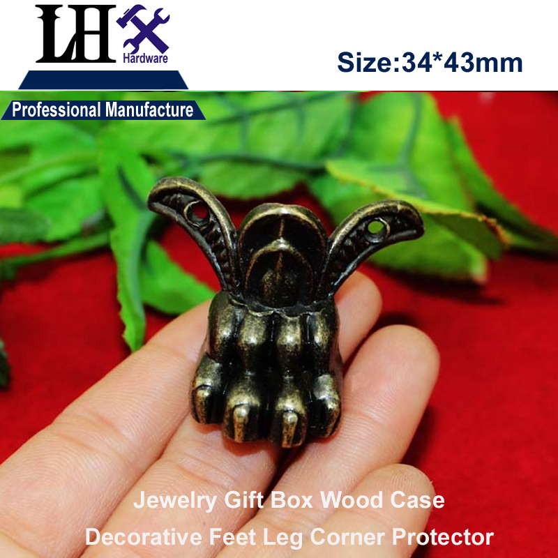 LHX P0YP88 4pcs/lot Antique Claw-shape Stripes Jewelry Gift Box Wood Case Furniture Decorative Feet Leg Corner Protector lhx p0fh08 1 40 4mmhardware 4pcs 4 color antique angle packaging bag crashproof packer corner gift trumpet flower wrap angle