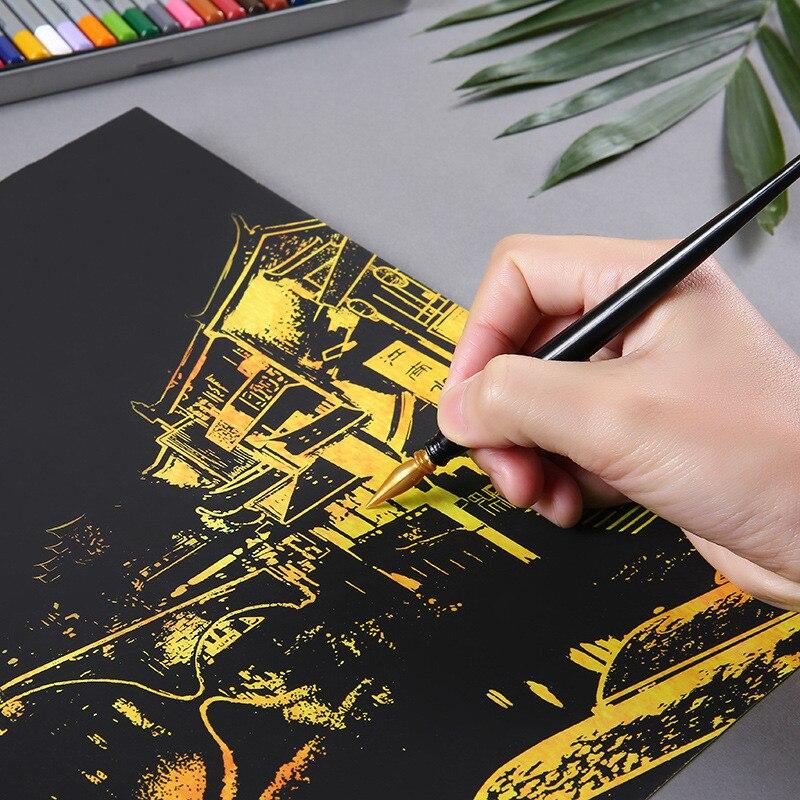 4 шт./компл. случайным образом DIY Рисунок стены Краски ing скретч-карты игрушка 4 Город Золотой ночной вид Краски искусств бумага Home Decor
