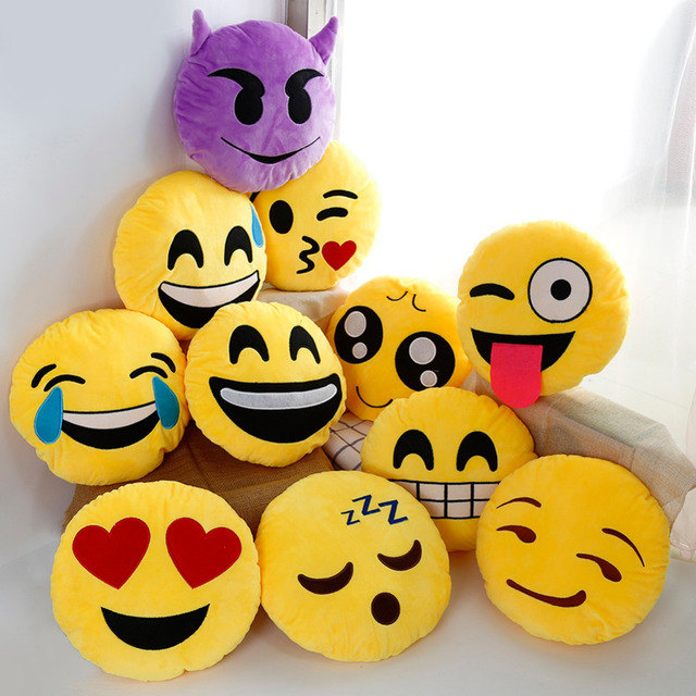 30cm Cute Creative Emoji Pillow Soft Stuffed Plush Toy Doll Round Emoticon Cushion Home Decor Sofa Bed Throw Smiley Face Pillow