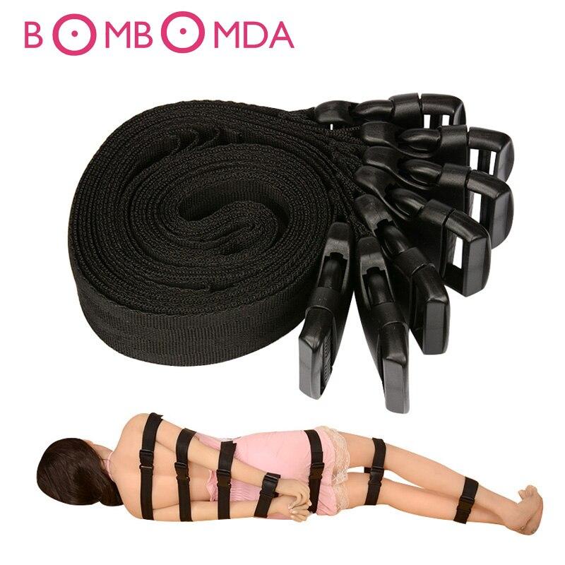 7 Pçs/set Produtos Sexuais Sob Restrições Cama Tiras de Bondage Set Sex Toys para Casais Flertar Jogos Adultos Brinquedos Eróticos Algemas O3