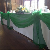 New Arrival Color Dark Green 5M 1 35M Organza Fabric Wedding Decoration Table Top Curtain Party