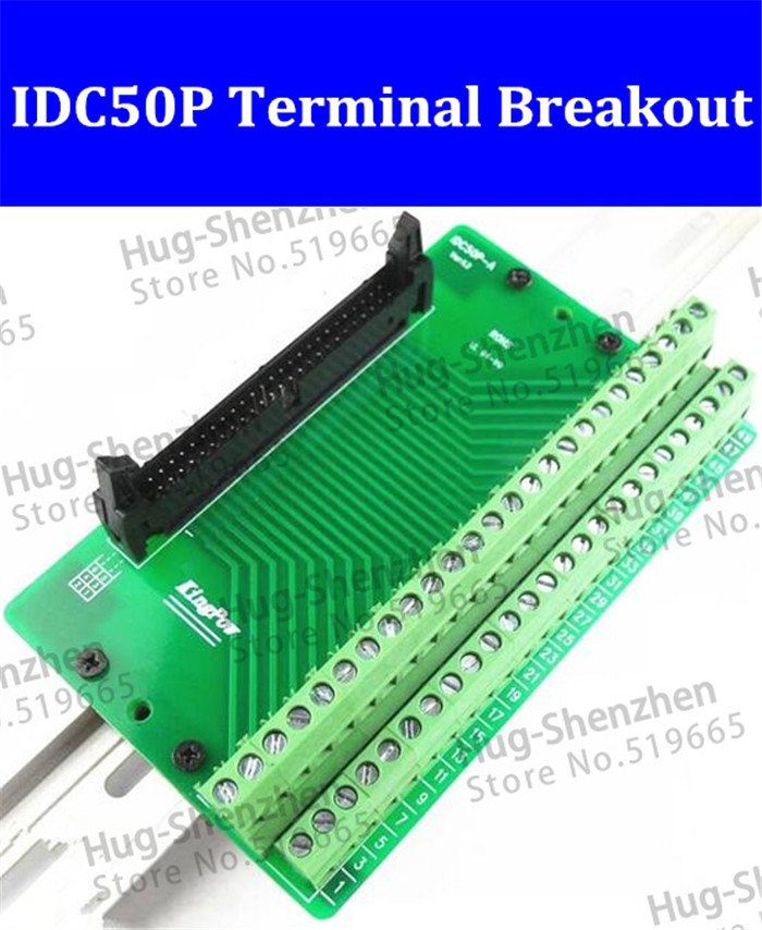 IDC50P IDC 50 Pin Male Connector to 50P Terminal Block Breakout Board Adapter PLC Relay Terminals DIN Rail Mounting--1pcs/lot hot factory direct wholesale idc40 male plug 40pin port header terminal breakout pcb board block 2 row screw