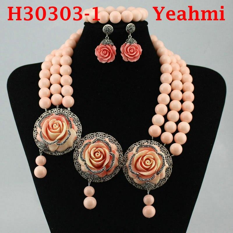 2018 nouveau collier de perles rondes en or ensemble de bijoux de perles africaines classiques pour les femmes, meilleur H30303-1 de cadeau de bijoux de mariage Nigeria