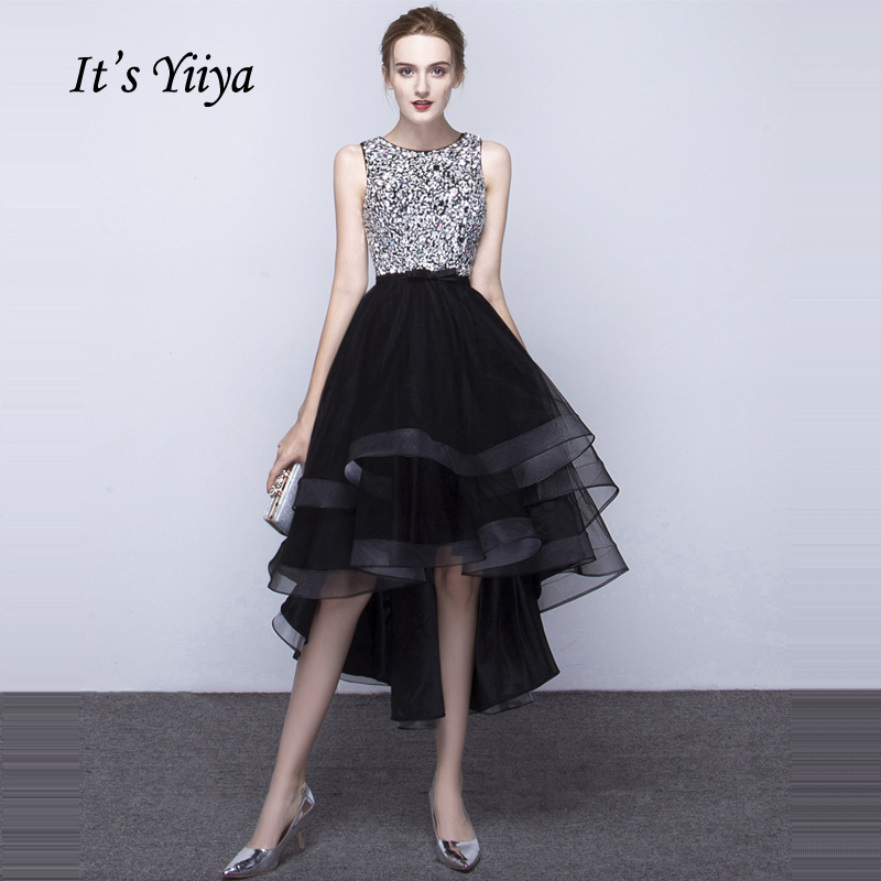 It's YiiYa Black Sales O-Neck Sleeveless Ankle-Length   Prom   Gown Bling Sequined Luxury Backless   Prom     Dresses   Mariage L019
