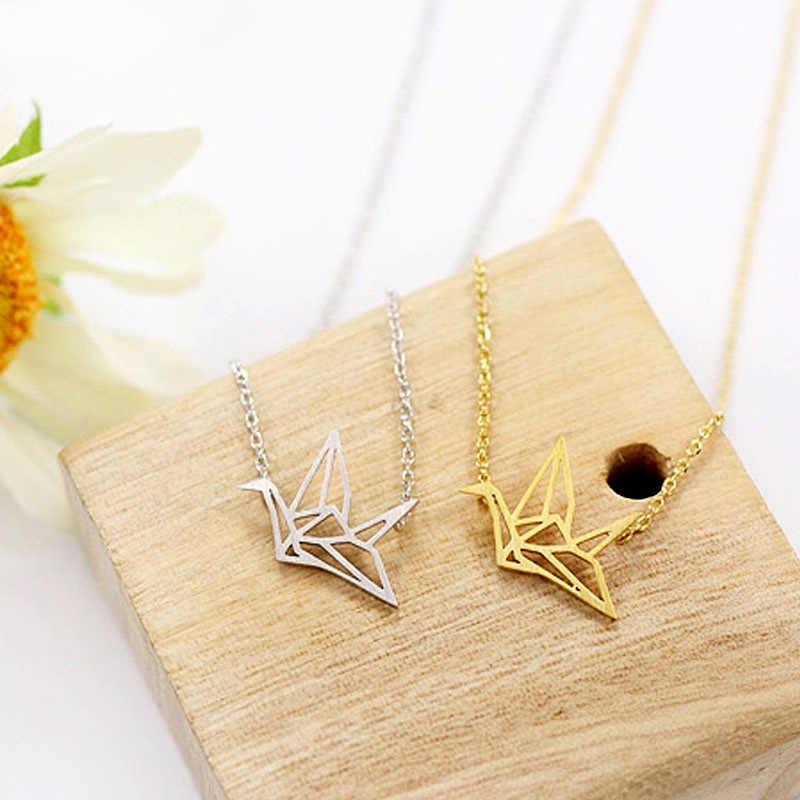 Ouro/prata banhado origami guindaste corrente pingente colar feminino simples origami pássaro animal abacaxi cacto colares jóias