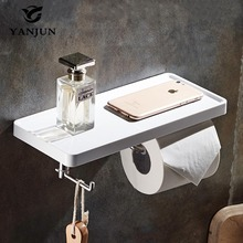 Yanjun New Style  Bathroom Paper Towel Dispenser WC Roll Paper Rack With Shelf  Wall Mounted And Hook YJ-8810