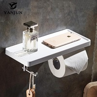 Yanjun New Style Bathroom Paper Towel Dispenser WC Roll Paper Rack With Shelf Wall Mounted And Hook YJ 8810