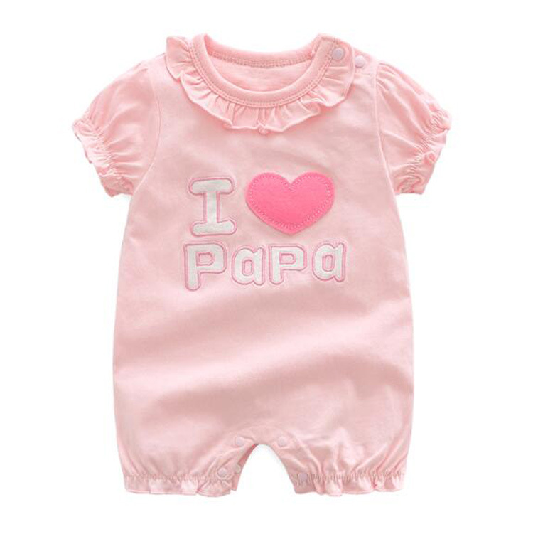 Brand orangemom Summer baby girl   romper   new born baby clothes princess i love papa mama twins white and pink jumpsuit