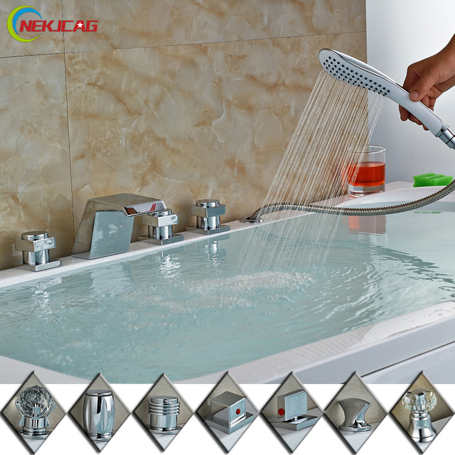 RGB LED Color Changing 3 Handles Waterfall Spout Bathtub Faucet Mixer Taps  with Handheld Shower Chrome Finish-in Shower Faucets from Home Improvement  ...