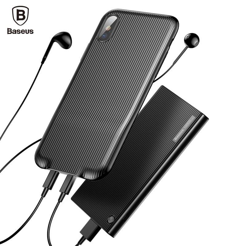 Baseus Audio Cas Pour iPhone X 10 Écouteur Casque Adaptateur répartiteurs Aux Cas de Couverture Arrière de Musique de Soutien Appel De Charge Sync données