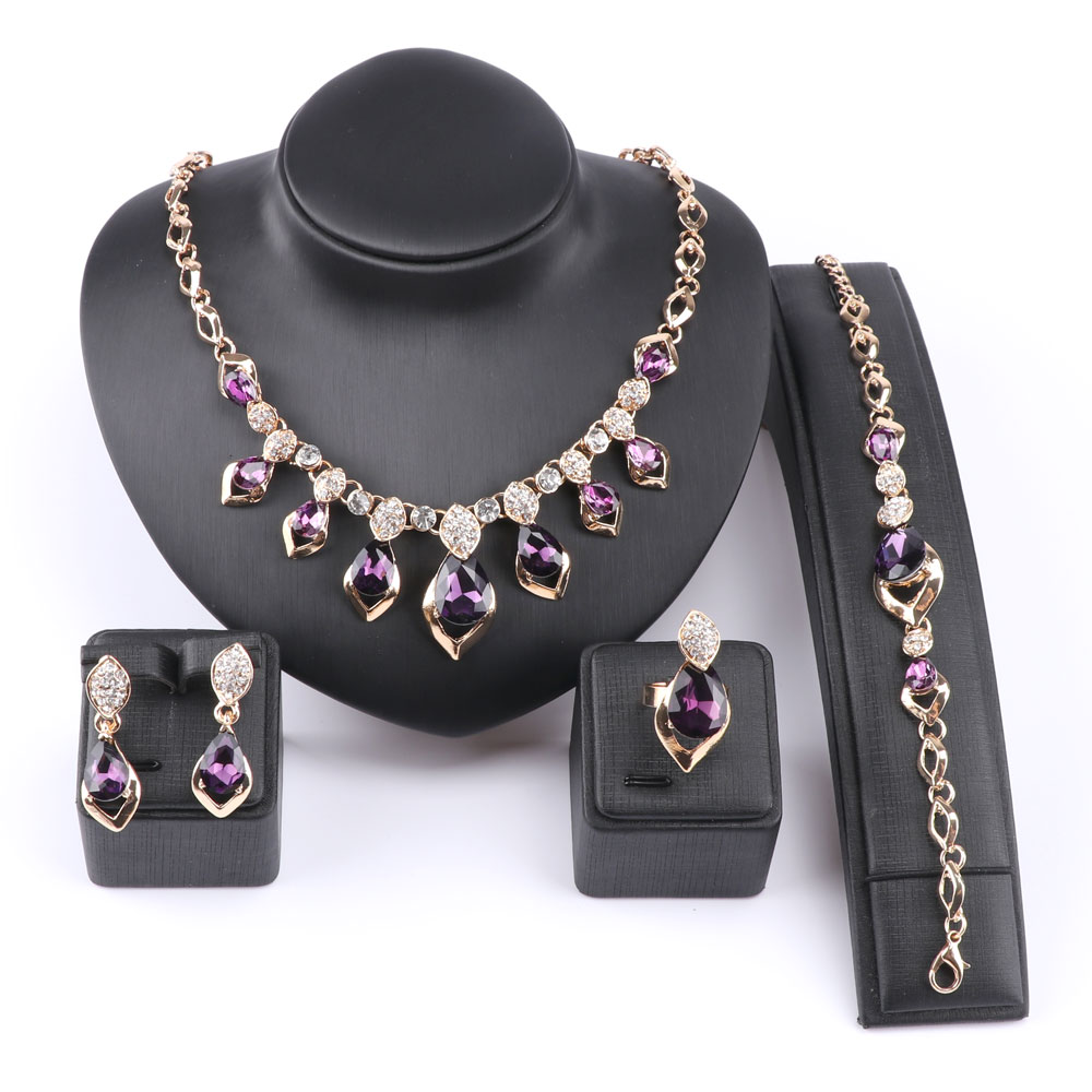African Jewelry Set Gold Color Purple Zircon Austrian Crystal Women Wedding Necklace Bracelet Earring Ring Jewelry Set