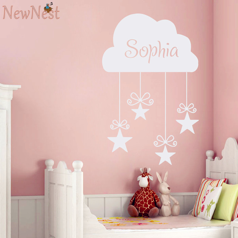 Custom girls name decals vinyl cloud and stars wall for Baby girl wall mural