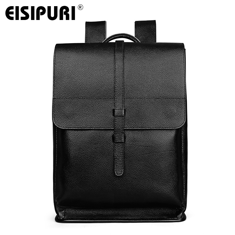 EISIPURI Genuine Leather Backpack For Man Real Cowhide Large Male Backpack Double Zipper Travel Rucksack Classic Unisex Bag male classic microfiber leather backpack
